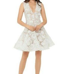 Betsy Adam White 3D Flower Fit N Flare Dress 8